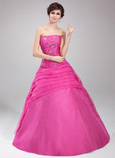 Duchesse-Linie Trägerlos Bodenlang Organza Quinceañera Kleid (Kleid für die Geburtstagsfeier) mit Rüschen Perlstickerei Blumen Pailletten (021002899)