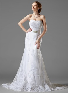A-Line/Princess Sweetheart Court Train Tulle Wedding Dress With Beading Appliques Lace (002000444)