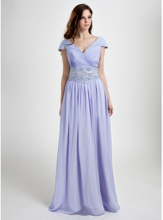 A-Line/Princess V-neck Floor-Length Chiffon Prom Dress With Ruffle Beading Sequins (008015801)