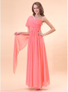 Holiday Dresses A-Line/Princess One-Shoulder Floor-Length Chiffon Holiday Dress With Ruffle Beading (020014396)