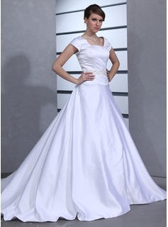 Ball-Gown Square Neckline Chapel Train Satin Wedding Dress With Beading (002001629)