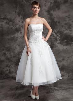 Forme Princesse Bustier en coeur Longueur mollet Taffeta Organza Robe de mariée avec Plissé Dentelle Emperler (002014997)