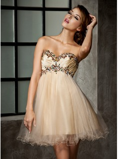 Cheap Homecoming Dresses Empire Sweetheart Short/Mini Taffeta Tulle Homecoming Dress With Ruffle Beading (022013925)