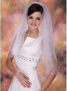 Two-tier Elbow Bridal Veils With Beaded Edge (006013288)