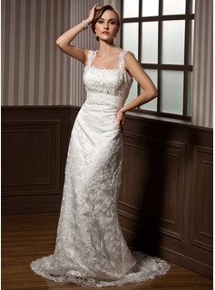 Sheath/Column Sweetheart Watteau Train Lace Wedding Dress With Ruffle Beading (002012795)