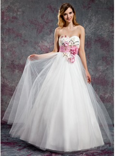 Robe de Bal de Promo Ligne-A/Princesse Cur Longeur au sol Taffetas Tulle Robe de Bal de Promo avec Bretelle Brod Fleurs Paillet (018018911)