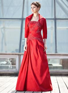 A-Linie/Princess-Linie Eine Schulter Bodenlang Taft Kleid für die Brautmutter mit Rüschen Lace Pailletten (008006472)