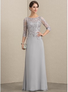 A-Line Scoop Neck Floor-Length Chiffon Lace Evening Dress With Sequins (017192588)