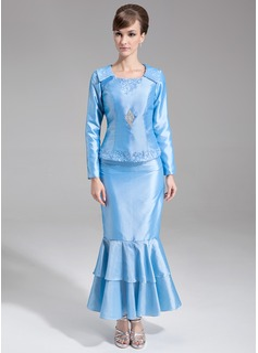 Trompete/Meerjungfrau-Linie U-Ausschnitt Knöchellang Taft Kleid für die Brautmutter mit Perlstickerei Pailletten (020032257)