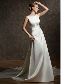Forme Princesse Col rond Traîne watteau Satiné Robe de mariée avec Plissé (002012755)