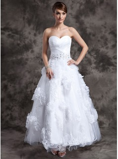Robe de Marie Ligne-A/Princesse Cur Longueur cheville Organza Tulle Robe de Marie avec Dentelle Perl Fleurs (002014984)