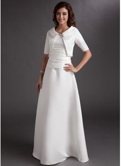 A-Linie/Princess-Linie V-Ausschnitt Bodenlang Satin Kleid für die Brautmutter mit Rüschen (008006062)