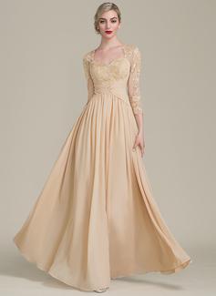 A-Linie/Princess-Linie Schatz Bodenlang Chiffon Spitze Kleid für die Brautmutter mit Rüschen Perlstickerei (008102671)