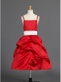 A-Line/Princess Tea-length Flower Girl Dress - Satin Sleeveless With Sash/Bow(s)/Pick Up Skirt (010014594)