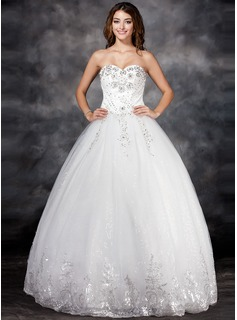 Ball-Gown Sweetheart Floor-Length Satin Tulle Wedding Dress With Lace Beading Flower(s) Sequins (002017122)