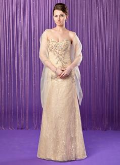 Etui-Linie Schatz Bodenlang Lace Kleid für die Brautmutter mit Perlstickerei Pailletten (008018739)