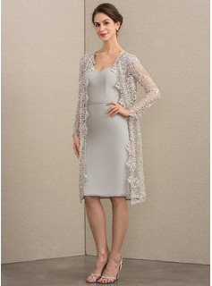 Sheath/Column V-neck Knee-Length Chiffon Mother of the Bride Dress With Beading Sequins (008164099)