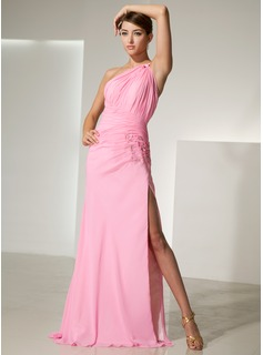 Sheath/Column One-Shoulder Sweep Train Chiffon Prom Dress With Ruffle Beading Flower(s) Split Front (018014467)