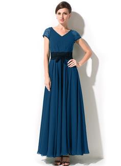 A-Linie/Princess-Linie V-Ausschnitt Knöchellang Chiffon Kleid für die Brautmutter mit Schleife(n) (008042825)