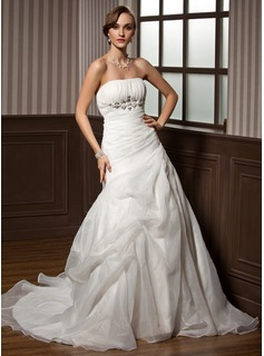 Cheap Wedding Dresses A-Line/Princess Strapless Chapel Train Organza Satin Wedding Dress With Ruffle Beadwork (002011798)