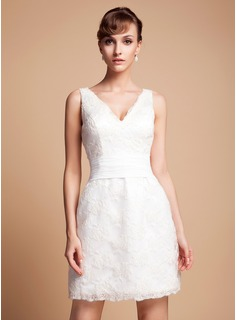 Wedding Dresses Sheath/Column V-neck Short/Mini Satin Wedding Dress With Lace (002011935)