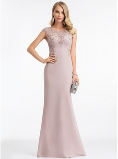 Sheath/Column Scoop Neck Floor-Length Stretch Crepe Evening Dress With Beading Sequins (017198665)