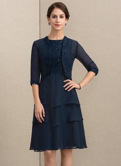 A-Linie/Princess-Linie U-Ausschnitt Knielang Chiffon Spitze Kleid für die Brautmutter mit Pailletten (008164078)