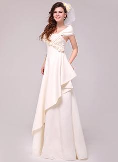 A-Line/Princess Off-the-Shoulder Floor-Length Satin Wedding Dress With Beading Flower(s) Cascading Ruffles (002014026)