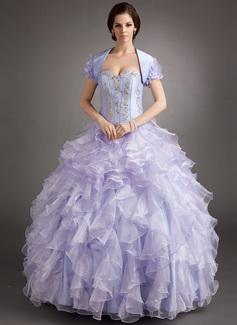Duchesse-Linie Herzausschnitt Bodenlang Organza Quinceañera Kleid (Kleid für die Geburtstagsfeier) mit Perlen verziert Applikationen Spitze Gestufte Rüschen (021016397)