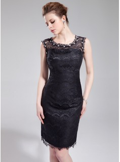Sheath/Column Scoop Neck Knee-Length Lace Cocktail Dress With Beading (016019694)