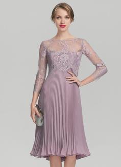 A-Linie/Princess-Linie Schatz Knielang Chiffon Kleid für die Brautmutter mit Gefaltet (008131961)