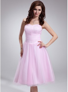 A-Line/Princess Sweetheart Tea-Length Tulle Homecoming Dress With Ruffle (022009569)