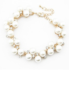 Unique Alloy Imitation Pearls With Rhinestone Ladies' Fashion Bracelets (011053750)