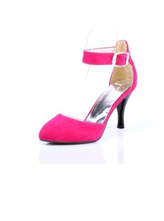 Velvet Cone Heel Pumps Closed Toe With Buckle shoes (085024011)