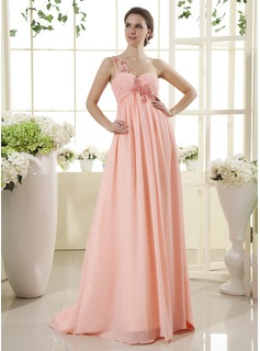 Robe de Bal de Promo Empire Une epaule Traine longue Mousseline Robe de Bal de Promo avec Ondul Brod Appliques (018015442)