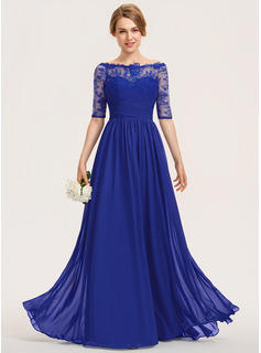 A-Line Off-the-Shoulder Floor-Length Chiffon Lace Bridesmaid Dress With Ruffle (007190678)