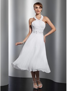 A-Line/Princess Halter Tea-Length Chiffon Homecoming Dress With Beading Pleated (022014804)
