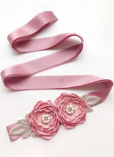 Hermoso Satén Cinturón con Flor/Diamantes de imitación/La perla de faux (015197463)