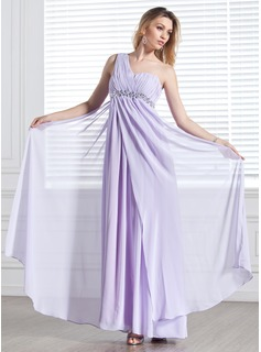 Empire One-Shoulder Floor-Length Chiffon Evening Dress With Ruffle Beading (017002555)