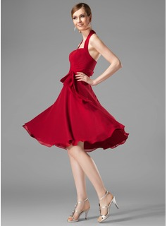 A-Line/Princess Halter Knee-Length Chiffon Bridesmaid Dress With Ruffle (007001816)
