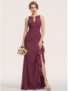 A-Line Scoop Neck Floor-Length Chiffon Bridesmaid Dress With Split Front Cascading Ruffles (007190704)
