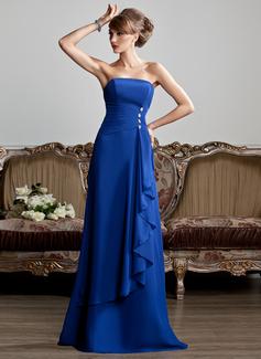 A-Linie/Princess-Linie Trägerlos Bodenlang Chiffon Abendkleid mit Perlen verziert Gestufte Rüschen (017013808)