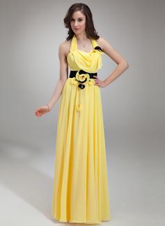 A-Linie/Princess-Linie Träger Bodenlang Chiffon Festliche Kleid mit Rüschen Schleifenbänder/Stoffgürtel Perlen verziert (020026016)