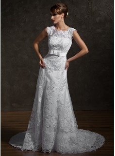 A-Line/Princess Square Neckline Chapel Train Satin Tulle Wedding Dress With Lace Bow(s) (002000631)