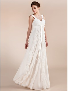 Empire Sweetheart Floor-Length Chiffon Charmeuse Wedding Dress With Bow(s) Cascading Ruffles (002011682)