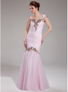 Trumpet/Mermaid Sweetheart Floor-Length Tulle Prom Dress With Ruffle Beading Appliques Lace Sequins (018019067)