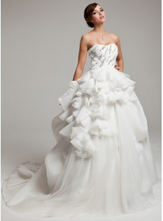 Ball-Gown Sweetheart Court Train Organza Satin Tulle Wedding Dress With Lace Beading Cascading Ruffles (002017558)