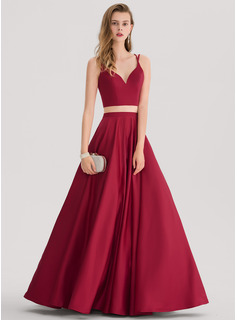 Ball-Gown Sweetheart Floor-Length Satin Prom Dresses (018138378)