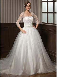 Ball-Gown Sweetheart Chapel Train Satin Tulle Wedding Dress With Lace Beadwork Sequins (002008173)