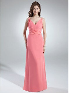 A-Line/Princess V-neck Floor-Length Chiffon Bridesmaid Dress With Ruffle (007001899)